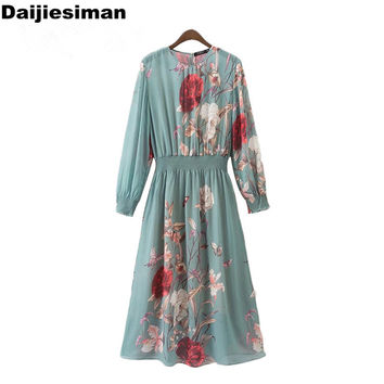Elastic Wasit Vintage Print Floral Flower Long Sleeve Green Dress New ZA Design Casual Brief Party Evening Vestidos Streetwear