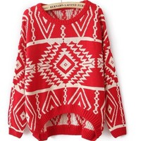 Red Geometric Sweater