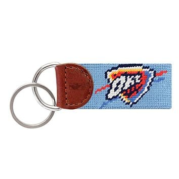 Oklahoma  City Thunder Needlepoint Key Fob in Light Blue by Smathers & Branson