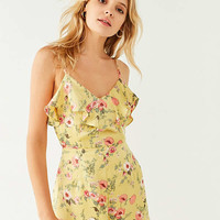UO Sateen Ruffle Romper | Urban Outfitters
