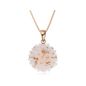Lovely Flower Cluster  Pink Rose Gold Plated Acrylic Plastic And Crystal Pendant Necklace