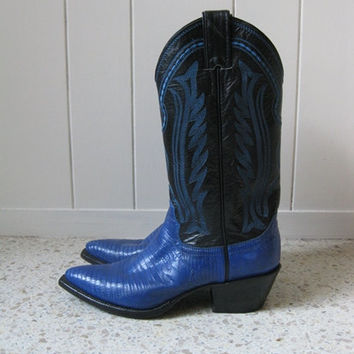 80s BLUE LIZARD skin Cowboy boots by Justin by sillyrabbitvintage