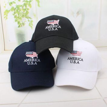 LMFDQ7 Summer America USA Embroidered Cotton Baseball Cap Hats