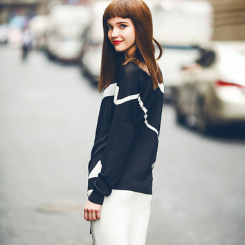 Summer Knit Tops Long Sleeve Round-neck Sweater [6308593796]