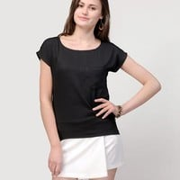 Marissa Solid Top - Black Online Shopping | 51549