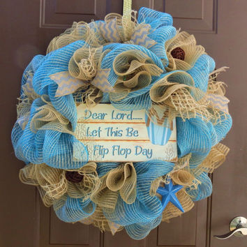 Summer Deco Mesh Wreath, Beach Deco Mesh Wreath, Pool Deco Mesh Wreath, Tropical Deco Mesh Wreath, Summer Burlap Wreath