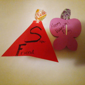 Valentine's for kids- superheroes and butterflies with a lollipop center