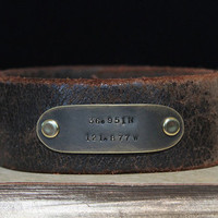 Valentine's Day Gift For Him - Personalized Cuff Latitude Longitude Coordinate Cuff Upcycled Vintage Leather Belts Urban Rustic