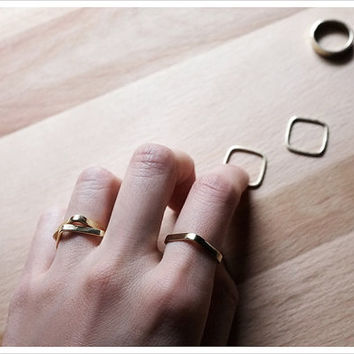 Gold Stacking Ring - Geometric Ring - Square Ring - Mix and Match - Simple Minimalist Everyday Jewelry LITTIONARY