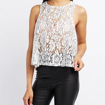 Cross-Dye Lace Swing Tank Top