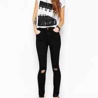 ASOS Ridley Black Skinny Jeans in Rip and Destroy Busted Knees