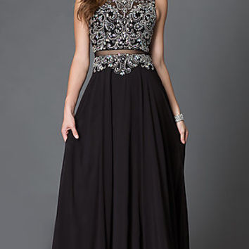 Illusion Floor Length Mock Two Piece Prom Dress with Jewel Detailing