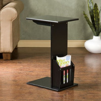 Snack Table C-Shape Living Room Furniture Black Finish With Magazine Holder New