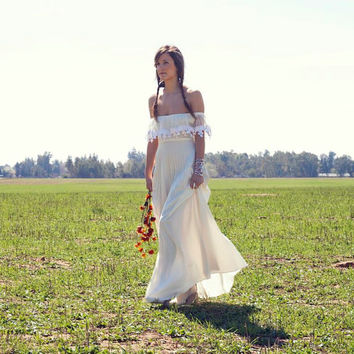 Bohemian Wedding Dress , Off the Shoulder, Cream,Lace, 70's Dress, Pleated Skirt- Ashlyn