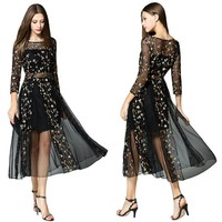 Women's Floral Embroidered Sheer Evening Cocktail Dress