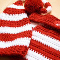 Toddler Elf Outfit, Christmas Striped Elf Hat and Diaper Cover, Toddler Elf hat, Baby Christmas outfit, Newborn to 12 month sizes available