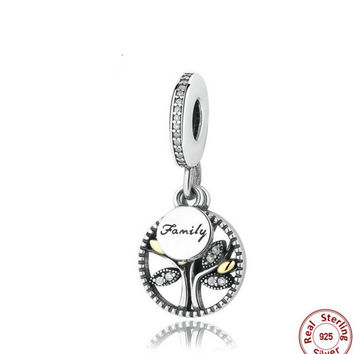 925 Sterling Silver Family Tree Dangle Whit 14K And Clear Cubic ZIRCONIA CHARM Fit PANDORA Bracelet