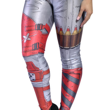BadAssLeggings Women's Cosplay Leggings Medium Red Gray