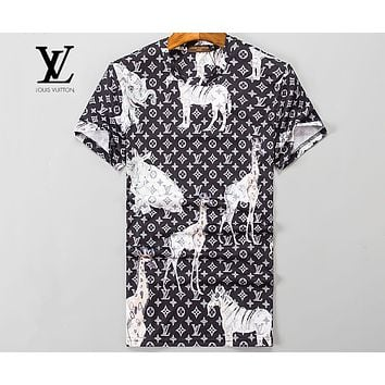 LV Louis Vuitton Limited Giraffe LOGO Round Neck Short Sleeve T-Shirt F-A00FS-GJ Black