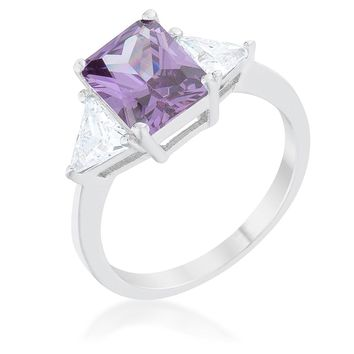 WildKlass Classic Amethyst Rhodium Plated Engagement Ring