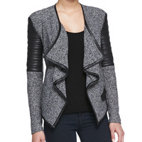 Women's Bonded Faux-Leather Boucle Cardigan, Charcoal - Generation Love - Grey ptrn