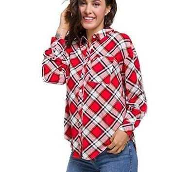 talever Women Long Sleeve Button Down Top Blouse Buffalo Plaid Loose Shirt Red Yellow