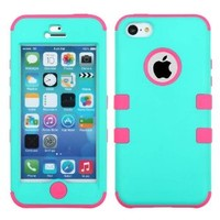 APPLE IPHONE 5C TEAL PINK HYBRID RIB CAGE COVER HARD GEL CASE from [ACCESSORY ARENA]
