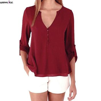 Womdee 2017 new Spring Summer blouses female Tops Long Sleeve Casual Loose Shirts women blouse short Chiffon Blouse Big size
