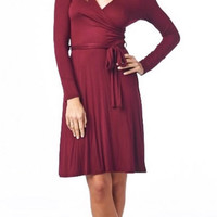 Solid Wrap Dress - Burgundy