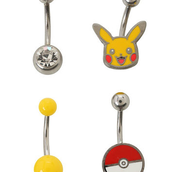 14G Steel Pokemon Pikachu Navel Barbell 4 Pack
