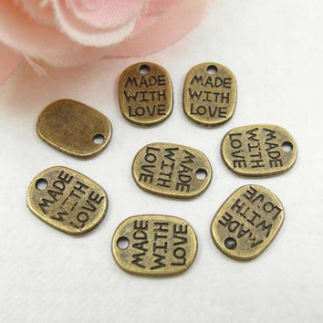 50pcs Antique Brass  Made with Love Tags Charm Pendant