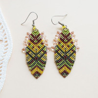 Bohemian feathers, micro macrame earrings, free spirit inspired, boho chic - Green Yellow Marsala