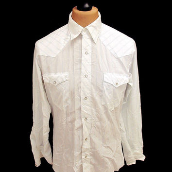 Retro White Blue Striped Western Shirt M