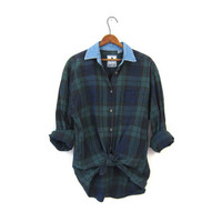 Washed Out Plaid Shirt 90s Blue & Green Grunge Boyfriend Top Denim Collar Button Up Long Sleeve Cotton Boho Tomboy Vintage Men's Large