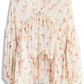 Ethereal Flamingo Chiffon Dolly Top