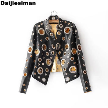 Cool Black Glod Silver Colors Club Pu Leather Jackets Punk Metal Circle Rivets Hollow Out Ladies Motorcycles Coat  Streetwear