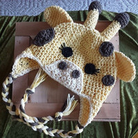 Crochet Giraffe Ear Flap Hat Newborn - 4T