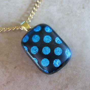 Mini Fused Glass Pendant and Necklace Blue Circles by mysassyglass