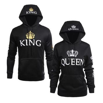 Adult Unisex Halloween Couple Hoodie King Queen Costume Black Cosplay Cool Pullover Polo Sweatshirt Coat For Men Women Plus Size