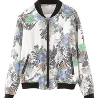 Multicolor Mosaic Floral Printed Bomber Jacket