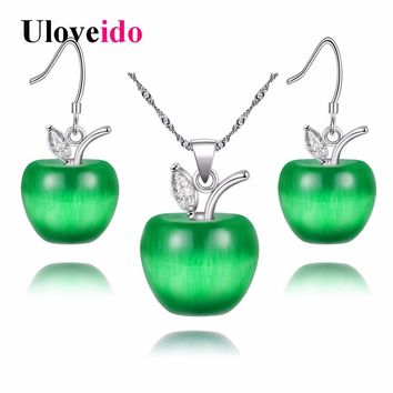 Uloveido Crystal Jewelry Set Zircon Green Red Pink Silver Jewelry Sets Wedding Necklace Earrings with Stones Femme 15% off YL007