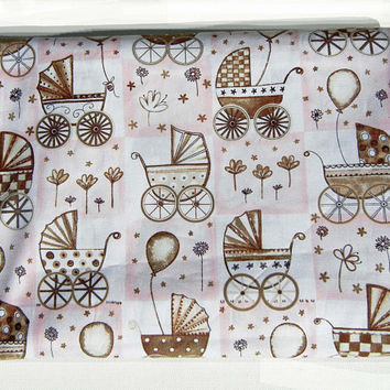 Baby Carriage Baby Buggy and Balloons Quilt Fabric in Pink White and Brown: Quality 100 Percent Cotton - 1 1/2 Yards Total
