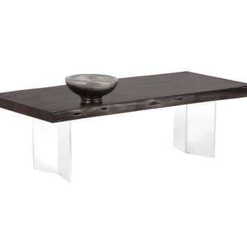 ROSA ACRYLIC BASE NATURAL ACACIA WOOD WITH DARK WALNUT FINISH TOP COFFEE TABLE