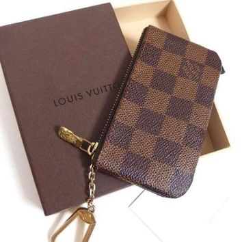 Lv Louis Vuitton Fashion Plaid Print Small Bag Change Purse Key Bag F