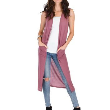 Lyss Loo Cover Me Up Long-line Marsala Cardigan Vest With Pockets