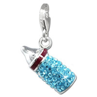 SilberDream Glitter Charm baby bottle with light blue Czech crystals, 925 Sterling Silver Charms Pendant with Lobster Clasp for Charms Bracelet, Necklace or Earring GSC555H