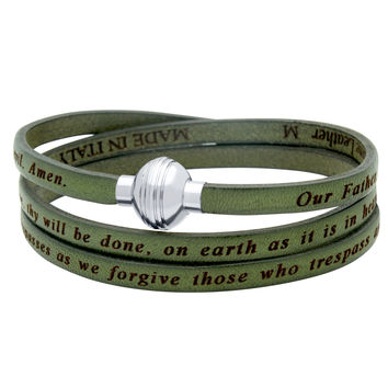 ZDW1001-OLV  OLIVE GREEN LORD'S PRAYER ENGRAVED LEATHER WRAP BRACELET