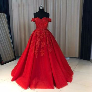 Off The Shoulder Ball Gown Prom Dress Red, Wedding Party Dress With Lace Appliques