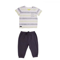 Kardashian Kids Boys' 2 Piece Gray/Black Playwear Set with Striped Short Sleeve T Shirt and Knit Track Pants