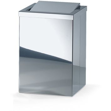 DW 113 Stainless Steel Trash Can Square Wastebasket W/ Swing Lid. Chrome